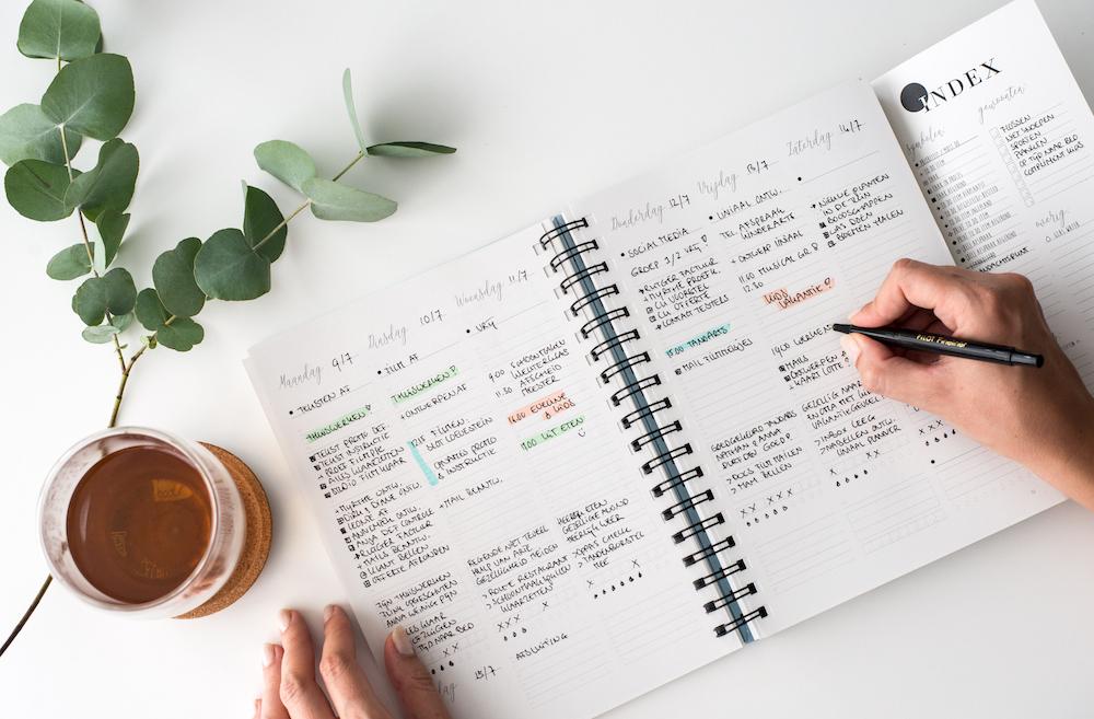 Je ziet de binnenkant van de Balans Planner; een handige agenda om je productieve dag mee te plannen.