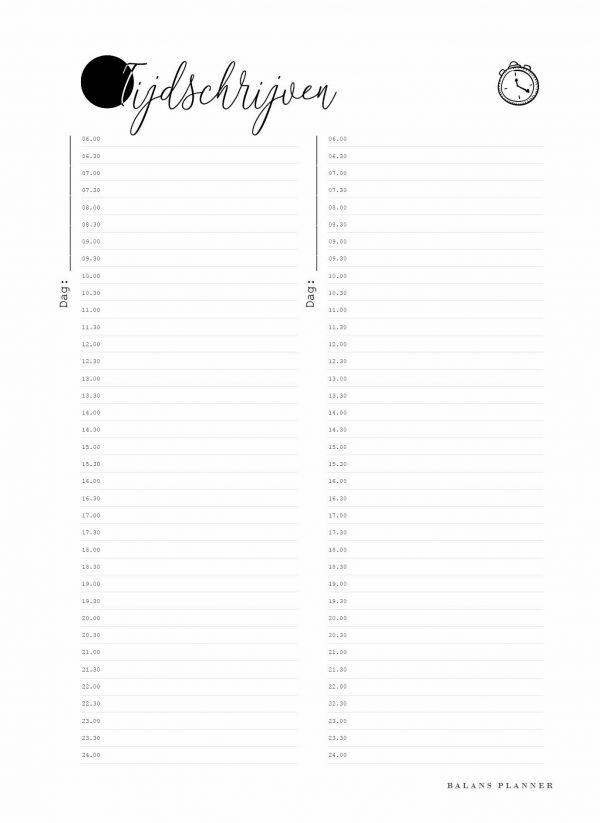 gratis printable tijdschrijven voor de Balans Planner